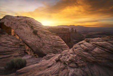 Mesa arch in Canyonlands National Park at Sunrise Stock Photo