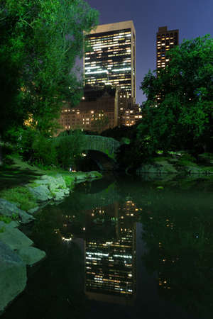 Small bridge over the lake in central park, New York with skyscrapers in the background