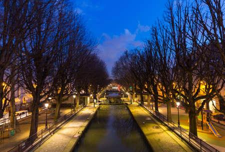 Canal Saint Martin at blue hour in Paris