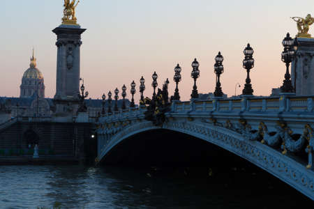 Pont Alexandre Bridge iii, at sunset in Paris Stock Photo