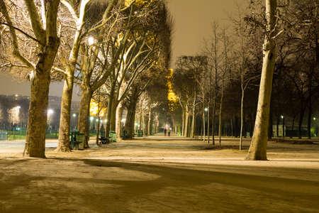 Tree-lined walkway in Champs de Mars Park in Paris