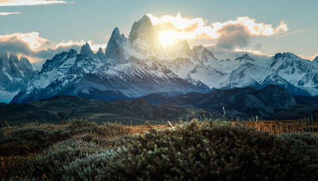 Snowy Fitz Roy mountain peak in Agentina Patagonia at sunset