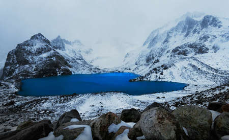 Laguna de Los Tres wih mountains on an overcast day Argentina Patagonia Stock Photo - 22159883