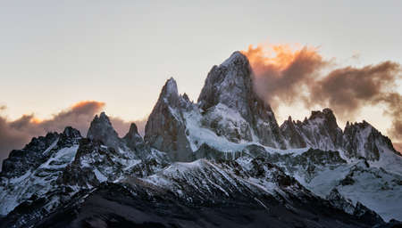 Peak of Mount Fitz Roy at sunset in Argentina Patagonia Stock Photo