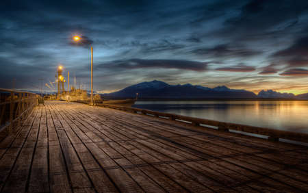Pier with mountains in Puerto Natales in Chile, Patagonia