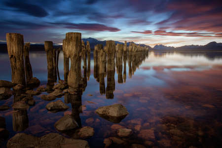 Sticks in the lake and a pink sunset in Chile, Patagonia