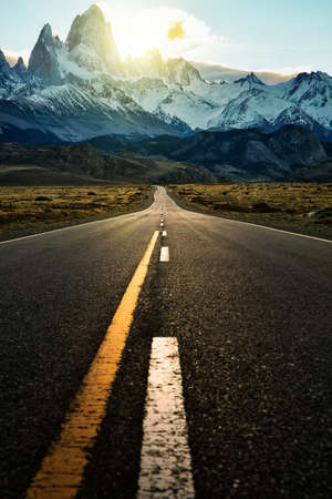 The highway road to El Chalten, Argentina Patagonia Stock Photo