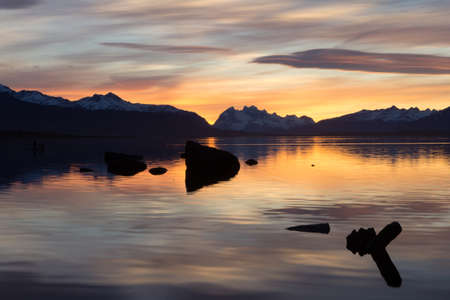 puerto natales: Puerto Natales lake in Chile Patagonia at sunset