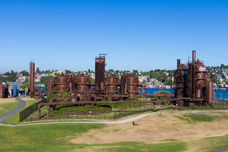 Gas works in a park in Seattle Stock Photo