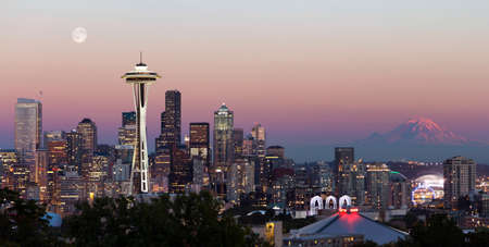 Seattle city skyline at sunset as seen from Kerry park
