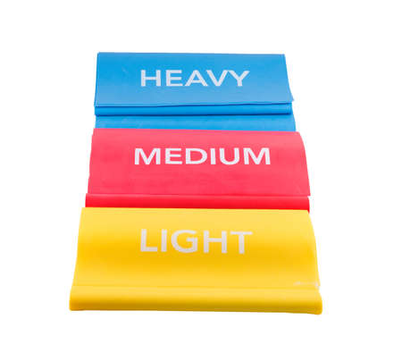 Heavy, medium and light resistance bands to use when working out