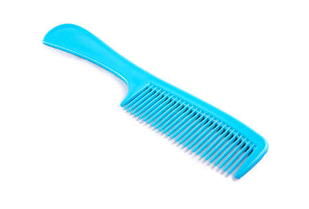 long handled: Blue plastic comb on a white background Stock Photo