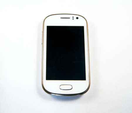 Modern, white cellphone with a blank screen
