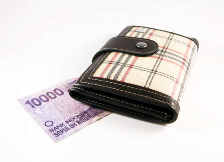 Checked Purse with Indonesian Rupiah on a white background