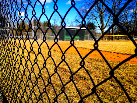 baseball dugout: Empty baseball field Stock Photo