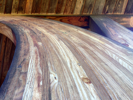 Wooden texture on beams to a man made structure