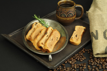sackcloth: Cup of coffee with toast and coffee beens