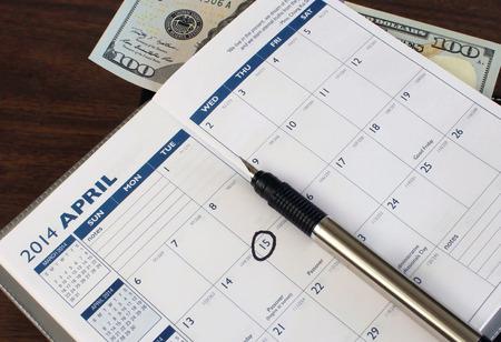 Calendar with April 15th circled