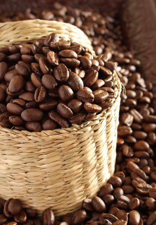 Closeup of Coffee Beans in Basket