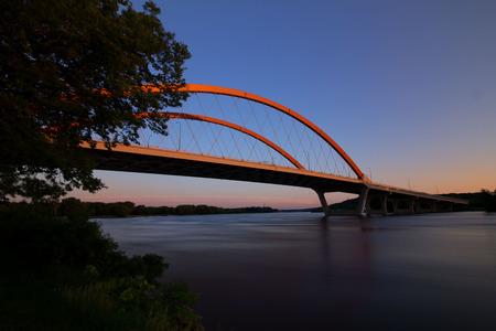 Hastings Bridge in Hastings, Minnesota at dawn with colorful sunrise