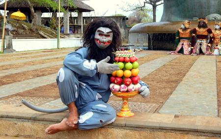 hugh: Balinese monkey mask dancer Editorial