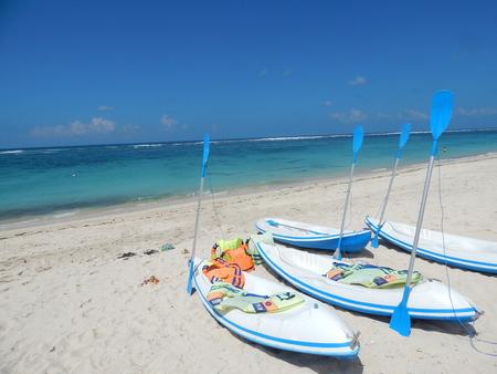 Blue sky and kayaks