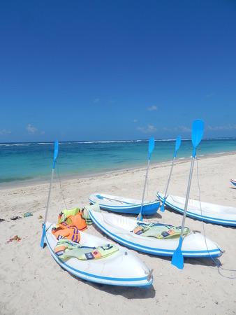 blue sky and kayaks Stock Photo
