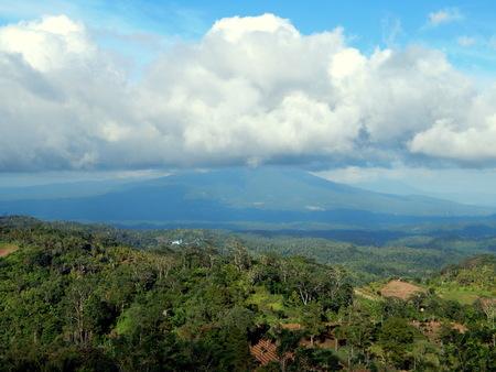 cumulonimbus: Cumulonimbus cloud, blue sky and mountain