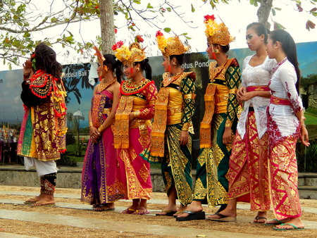 kecak: balinese dance girls with traditional outfit Editorial