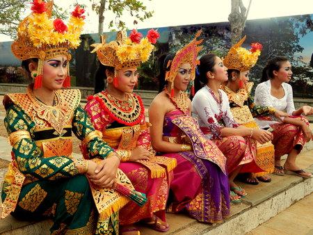 kecak: group of Balinese dance girls