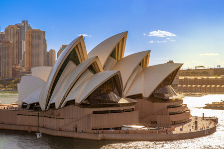 Sydney, Australia - Dec 02 2018: Opera House in Sydney, Australia, with the skyline in the back and a wonderful clear blue sky Editorial