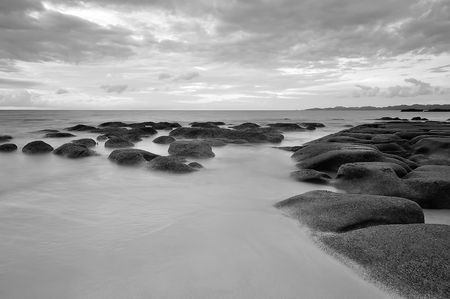 Long exposure seascape in black and white.