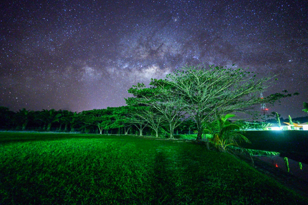 Beautiful Milky way, Amazing Milky Way galaxy at Borneo, The Milky way, Long exposure photograph, with grain. Image contain certain grain or noise and soft focus.