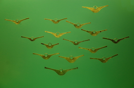Pre-Columbian gold jewellery from Colombia Stock Photo
