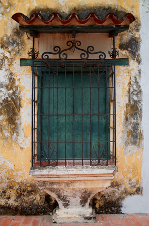 Old windows in Mompox, Colombia Stock Photo