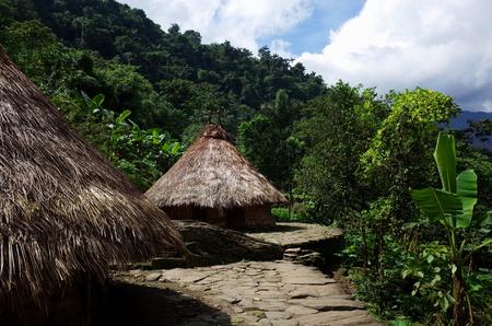 シウダー Perdida (失われた都市)、コロンビアの先住民の家 写真素材