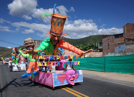 5TH JANUARY 2015, CHICHAGUÍ, COLOMBIA - colorful floats taking part in the celebrations at the Carnival de Blancos y Negros (Blacks and White Carnival) in Chichaguí near Pasto in Colombia Editorial