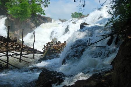 At the Li Phi Waterfalls near Don Det, 4000 Islands, Laos