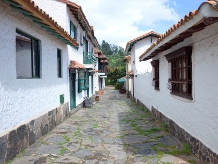 pueblo: A pretty street in Pueblito Boyacense, every street represents a different village in the Colombian department of Boyaca Stock Photo