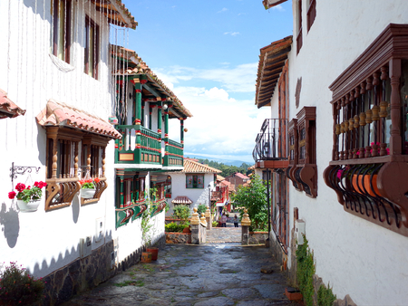 A pretty street in Pueblito Boyacense, every street represents a different village in the Colombian department of Boyaca Stock fotó