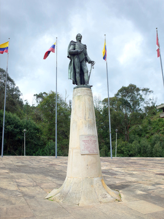 major battle: The statue of Francisco de Paula Santander at Puente de Boyaca, the site of the famous Battle of Boyaca where the army of Simon Bolivar, with the help of the British Legion, secured the independence of Colombia Stock Photo