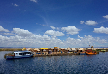 21ST DECEMBER 2016, PUNO, PERU - A village on the Floating Islands on Lake Titicaca Editorial