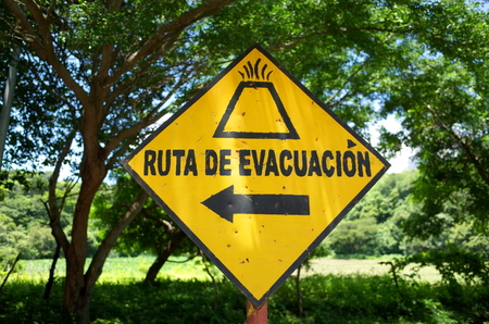 Evacuation Route - Volcano evacuation sign on Isla Ompetepe in Nicaragua Stock Photo