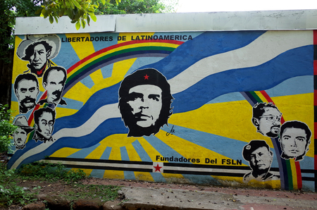 7TH SEPTEMBER 2014, LEON, NICARAGUA - A Sandinista mural of various revolutionaries in Leon showing the strong socialist history of the town