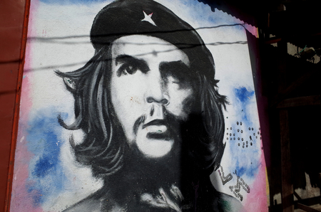 contra: 17th AUGUST 2014, ESTELI, NICARAGUA - A Sandinista mural of Che Guevara in Esteli showing the strong socialist history of the town Editorial