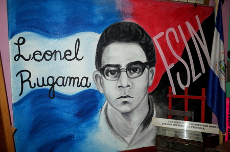 25TH AUGUST 2014, ESTELI, NICARAGUA - A Sandinista mural of Leonel Gugama in Esteli showing the strong socialist history of the town Editorial