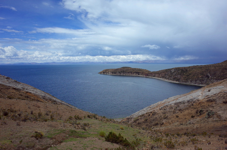 Breath taking view of a beach on the Isla Del Sol on Lake Titicaca