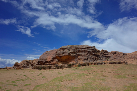 The Sacred Rock of the Incas on the Isla del Sol, the birthplace of the Inca civilization