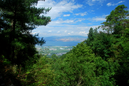 A spectacular view of Dali as seen from Mount Cangshan in Yunnan, China