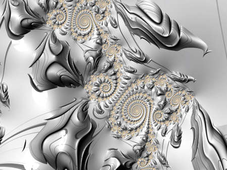fractals: Silver and Gold Fractal Image Stock Photo
